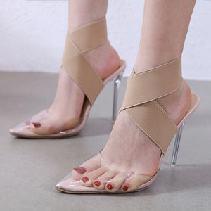 Simple all-purpose transparent sexy high-heeled sandals