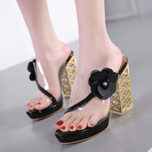 Crystal block heel high toe set sandal