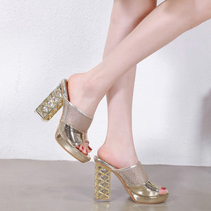 Ohichiic Crystal chunky heels Sandals Slippers