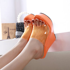 Fruit-colored simple comfortable wedge sandals and sandals