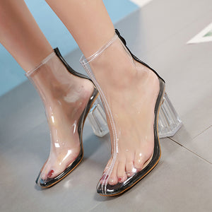 Crystal clear transparent rubber ankle boots
