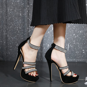 Fashionable high heels with water drill waterproof platform
