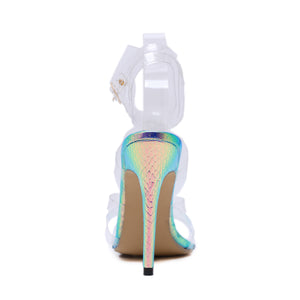 Snake-print transparent fruit sandals with high heels