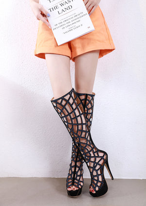 Hollow-out drill heels above the knee boots