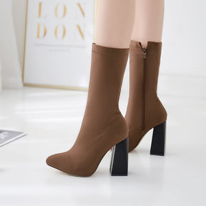 Brown stretch boots thick heel  pointed ankle boot