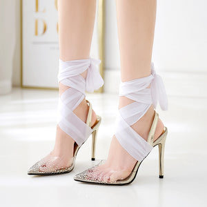 Sexy pointed transparent TPU ankle tie ribbon stiletto sandals