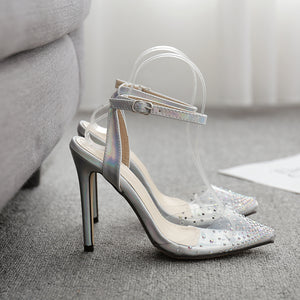 Pointed diamond high heel sandal princess shoes