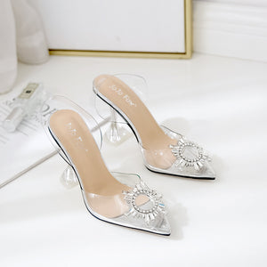 Sunflower sexy crystal wine glass with pointed toe sandals