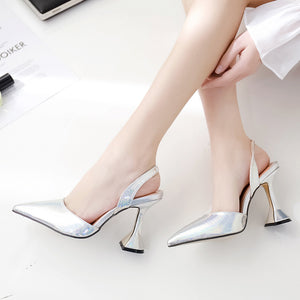 Metallic check embossed color pointed wine glass heel sandals