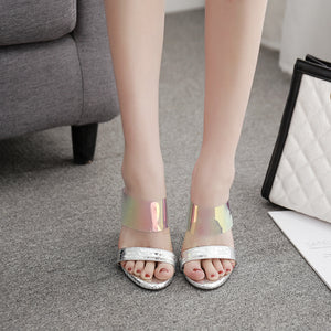 Transparent color PVC sexy peep-toe flip-flops