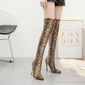 Snakelike pointy sexy club over-the-knee boots