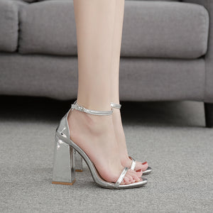 Chunky high heels with silver sandals