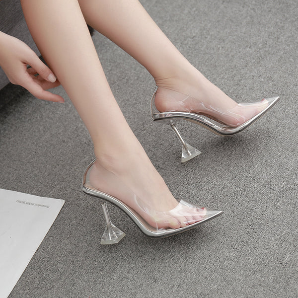 Wine glass with transparent and pointed shallow mouth high heels slippers