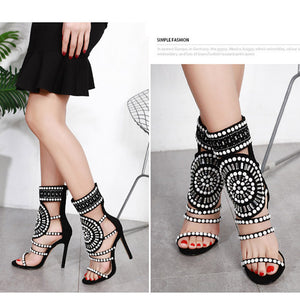 Hollow out water drill fish mouth stiletto sandals