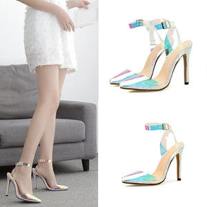 Spring and autumn colorful transparent fish mouth high heel sandals