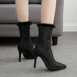 Hairy pointed side zipper ankle boots