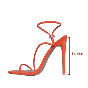 Cherry neon Orange Strappy Toggle Heels