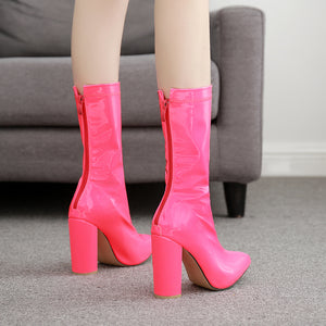 Candy-colored boots with thick, pointed leather heels