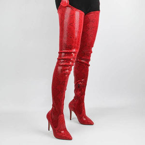 VICKI RED PYTHON BELT THIGH HIGH BOOTS