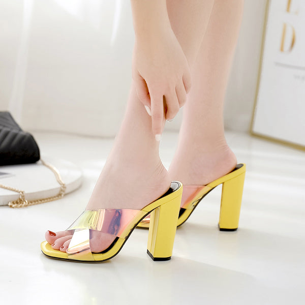 Square head hollow-out luminous thick heel slippers