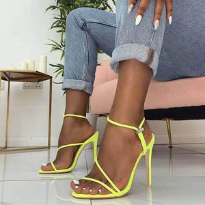 Cherry Neon Yellow Strappy Toggle Heels