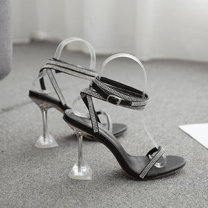 Luxury water drill strap with transparent high-heeled sandals