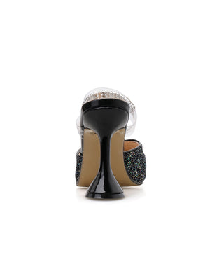 Sequined diamond pointed wine glass with high-heeled sandals