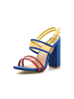 Stylish combination color PVC thick heel sandals