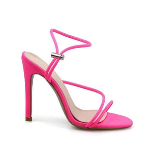 Cherry Neon Pink Strappy Toggle Heels