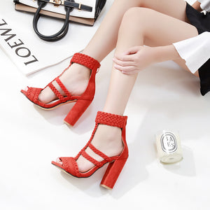 Sexy braid sandals with thick heel
