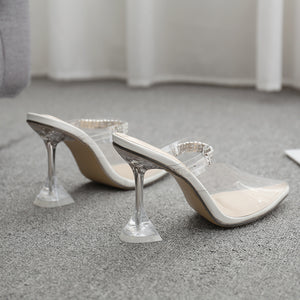 Clear pointed  toe high heel sandals Slipper