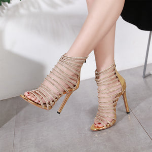 Hot diamond crystal sandals with high heels