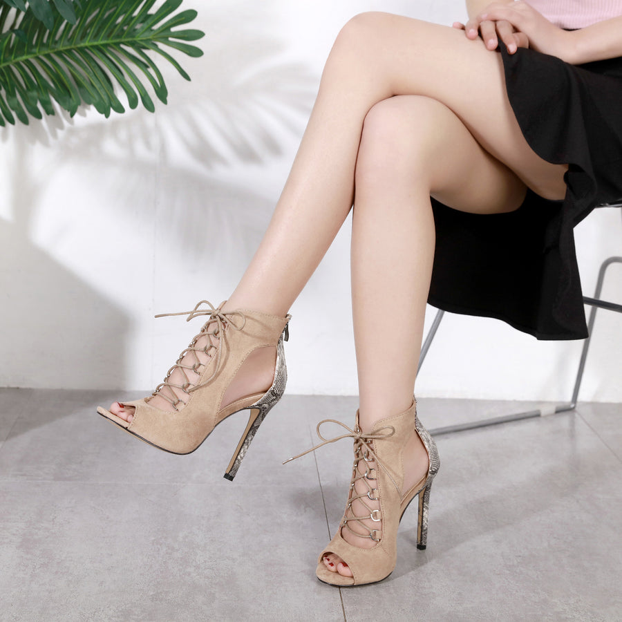 Ohichiic Lace up High heel Pumps sandals