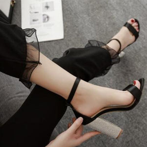 Diamond square heel high heel sandals