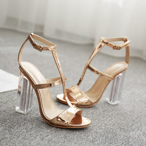 Gold bright patent leather crystal high-heeled sandals