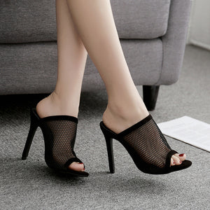 Simple sexy mesh high heel slippers