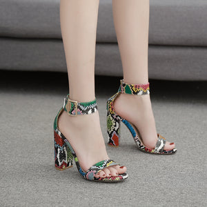 Roman vintage colored serpentine sandals with chunky heels