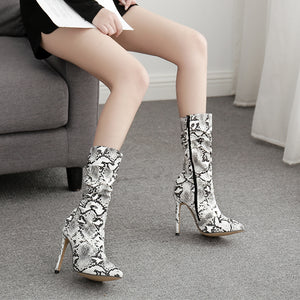 Sexy serpentine crinkled ankle boots with stiletto heels