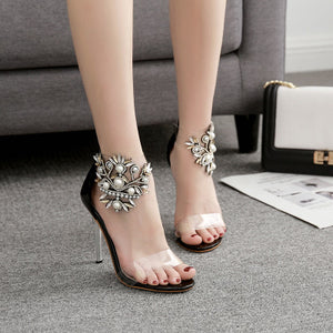 Pearl horse eye glassy PVC film open-toe sandals