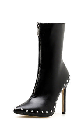 Pointy front zipper decorated high heel lady's boot knight's boot