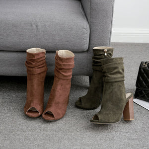 Plain suede pleated spring and autumn open-toe ankle boots
