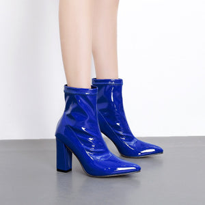 Winter boots with thick heel and pointed elastic PU face