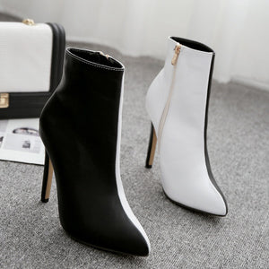 Contrast color splicing thin heel high heel ankle boots