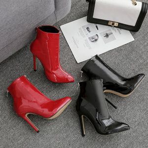 New fashionable front and rear zipper leather ankle boots with thin heels