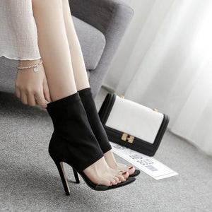 Sexy hollow-out stretch cloth high heel horizontal strap sandals
