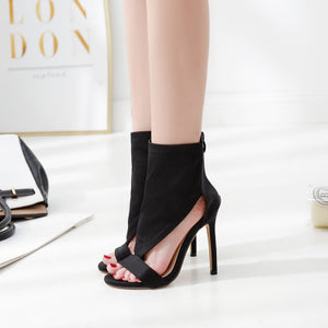 Stretch cloth sexy comfortable open toe high heel cool boots