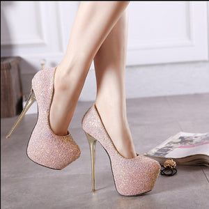 High heels with sparkly pumps