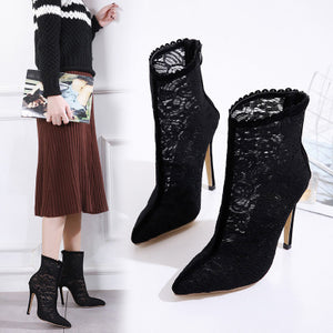 Lace sexy personality cool high-heeled boots