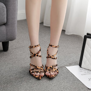 Pointy snakeskin leopard print sexy cross strap gladiator sandals