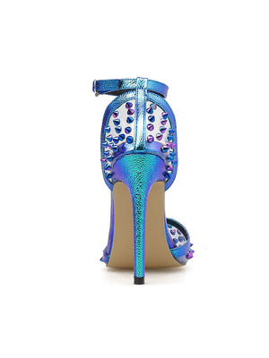 Fashionable one-word button sexy color rivet sandals